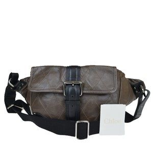 CHLOE Logo Quilted Bum Bag Leather Brown
